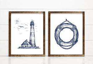 Modern Sketched Lighthouse - Printable Art - Downloadable - Art