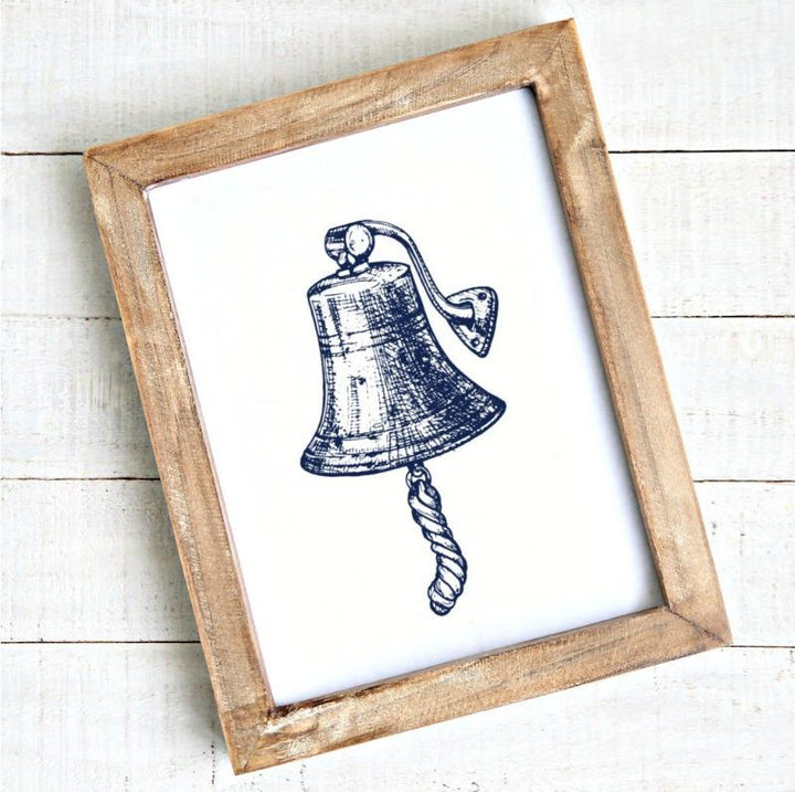Modern coastal artwork ship bell printable