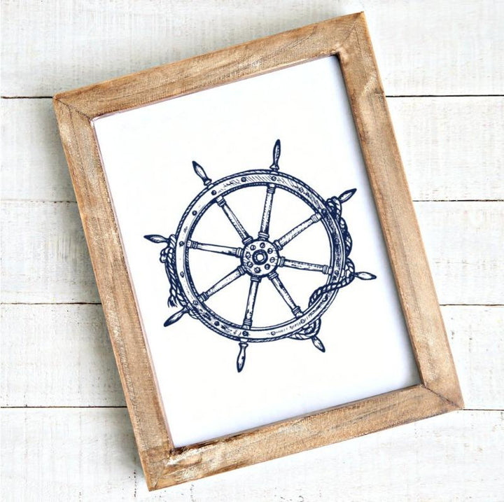 modern coastal ship wheel printable art