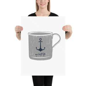 My Best Life/Anchor Mug Print (Nautical Mugs Series) - Anchor Anchor Collection Coffee Gray - Home Decor