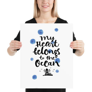 My Heart Belongs to the Ocean (Nautical Watercolour Quotes Series) - Blue Lighthouse Nautical Watercolour Quotes Series Ocean Polka Dots -