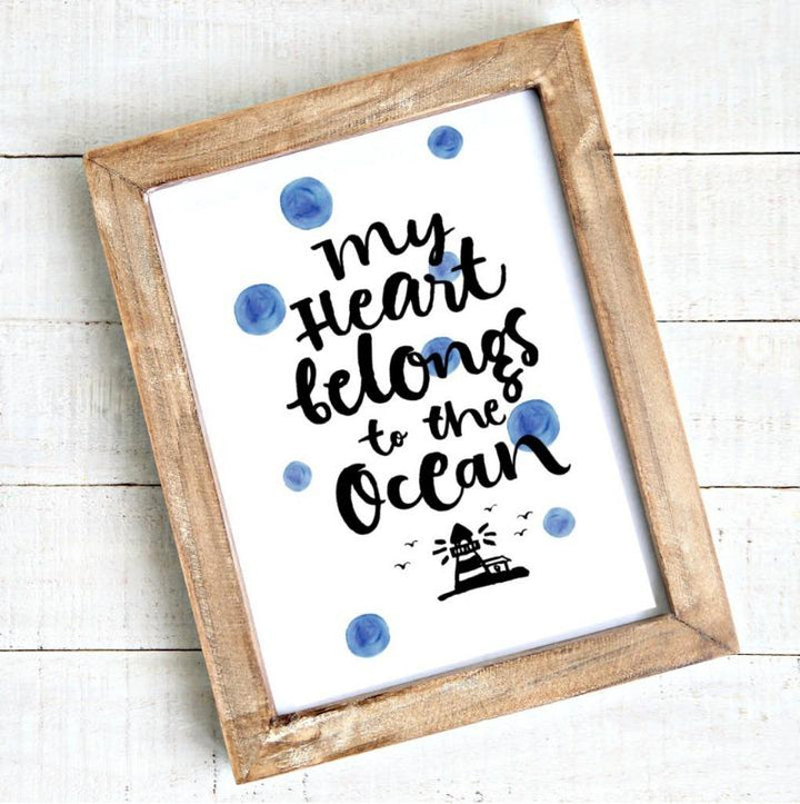 My Heart Belongs to the Ocean Watercolour Art Coastal Printable