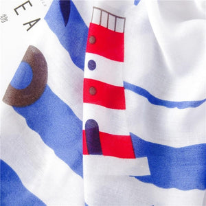 Nautical Life Scarf - Boat Lighthouse Navy Blue Ocean Red - Accessories