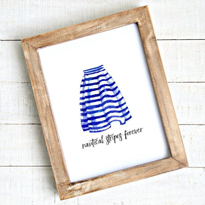Coastal artwork - printable -nautical stripes forever