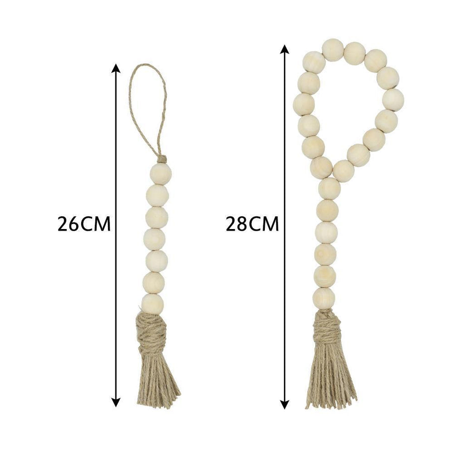 Nordic-Style Wooden Beads (with Twine Tassel) - Beads Els PW 9383 Fall Wood - Home Decor