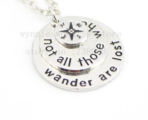 Not All Who Wander Engraved Necklace - Accessories Coastal Lifestyle Jewellery Silver - Accessories