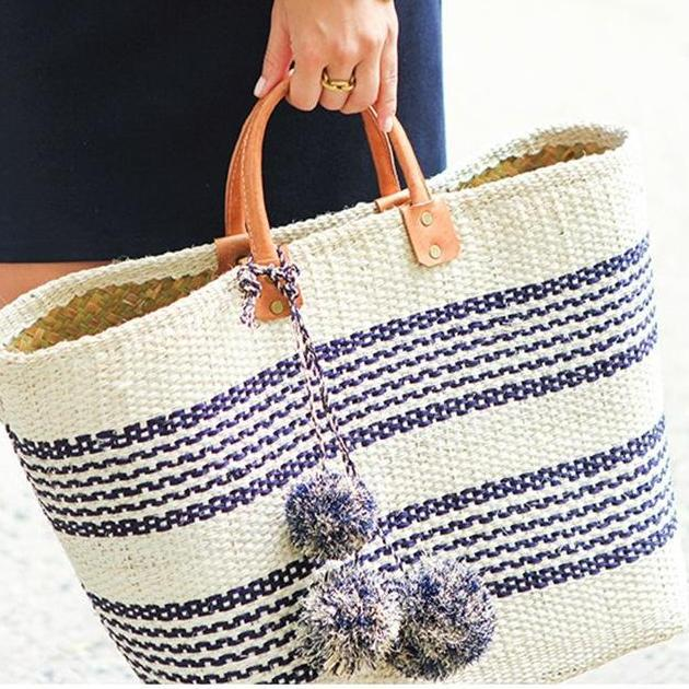 NOW 25% OFF! Vintage Stripes Woven Straw Tote - Accessories Bags Beach Bag Best Stripes Coastal Lifestyle - Bags