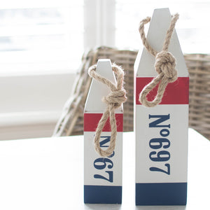 Numbered Wood Buoys (Set of Two) - Best Stripes Buoys Els PW 9383 Nautical Navy Blue - Home Decor