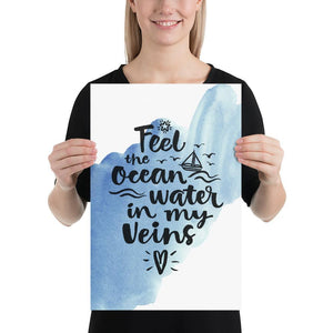 Ocean in My Veins (Nautical Watercolour Quotes Series) - Blue Boat Nautical Watercolour Quotes Series Ocean Watercolour - Home Decor