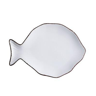 Ocean Life White Ceramic Rimmed Dishes (3 Options) - Fish Fish & Whale Collection Plates Whale - Home Decor