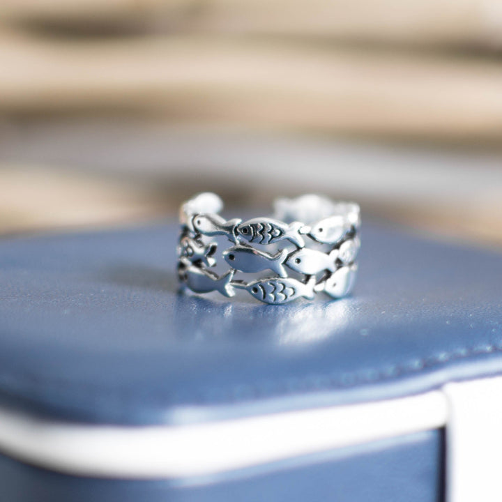 School of Fish Silver Ring - Accessories Coastal Lifestyle Fish Fish & Whale Collection Jewellery