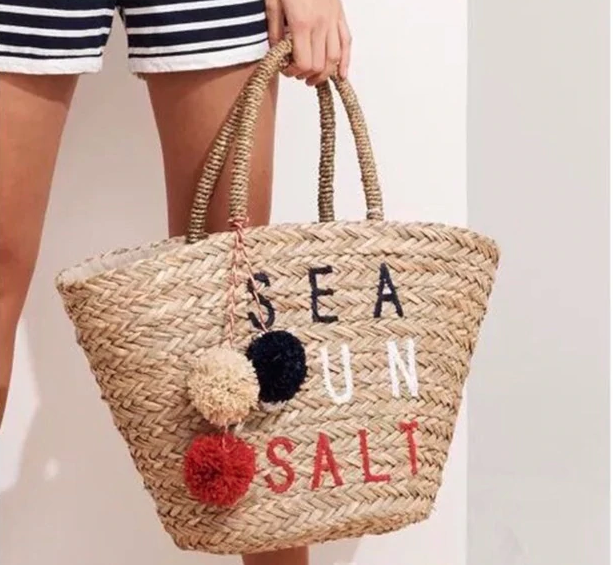 Sea Sun & Salt Embroidered Straw Bag - Beach Bag Jute Pom Pom Salt Salty - Accessories