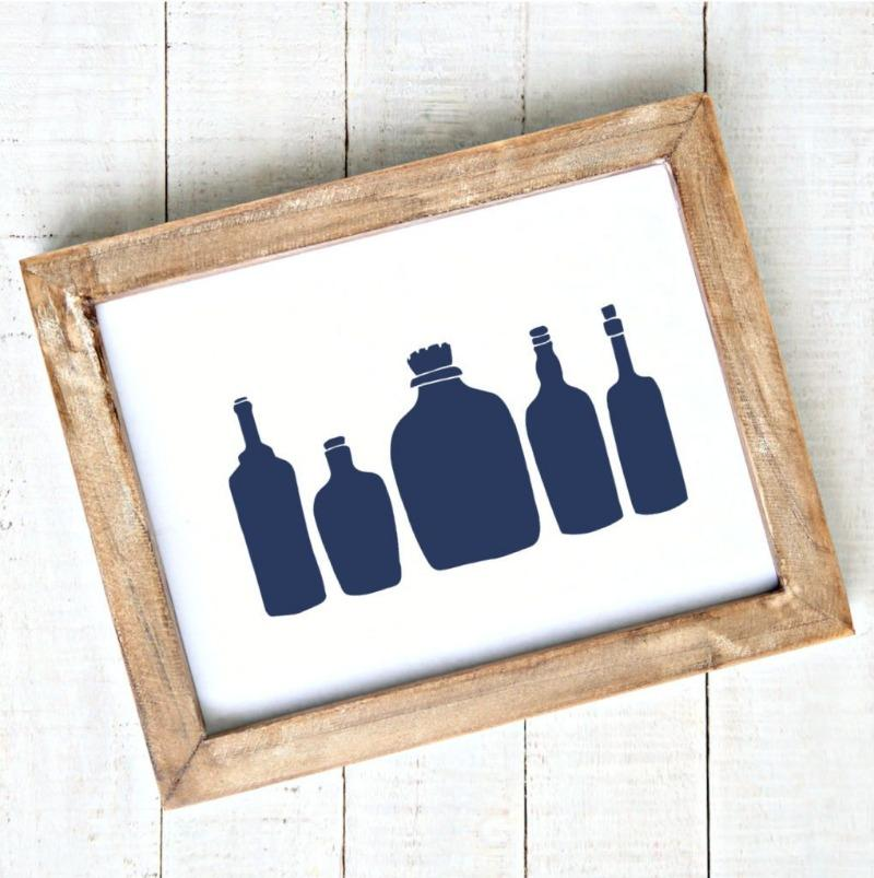 Coastal Art Printable Seaglass Bottles
