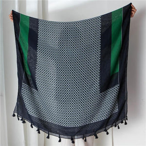 Set Sail Scarf - Geometric Green Navy Blue Scarves Striped Collection - Accessories