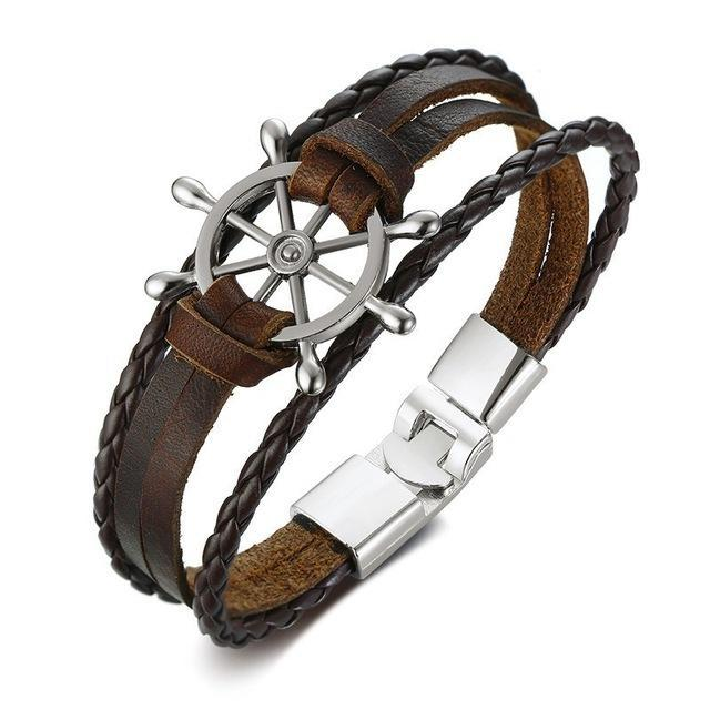 Ships Wheel Leather Bracelet - Bracelets Jewellery Leather Rudder Ships Wheel - Accessories