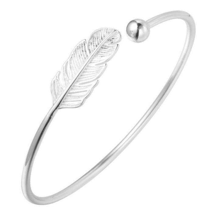 Simple Feather Sterling Silver Bracelet - Accessories Bracelets Coastal Lifestyle Jewellery Silver - Accessories