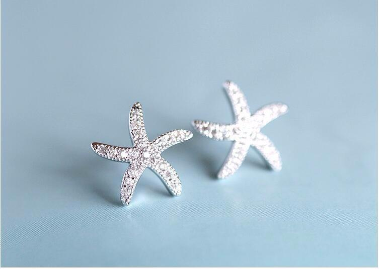 Sparkly Starfish Studs - Accessories Earrings Jewellery Silver Starfish - Accessories