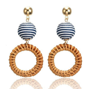Striped & Bamboo Statement Earrings - Bamboo Best Stripes Blue Coastal Lifestyle Earrings - Accessories
