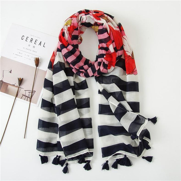 Stripes & Poppies Scarf - Best Stripes Nautical Navy Blue Red Scarves - Accessories