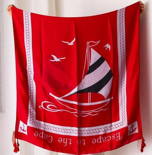 Summer Escape Scarf - Anchors Black Boat Red Scarves - Accessories