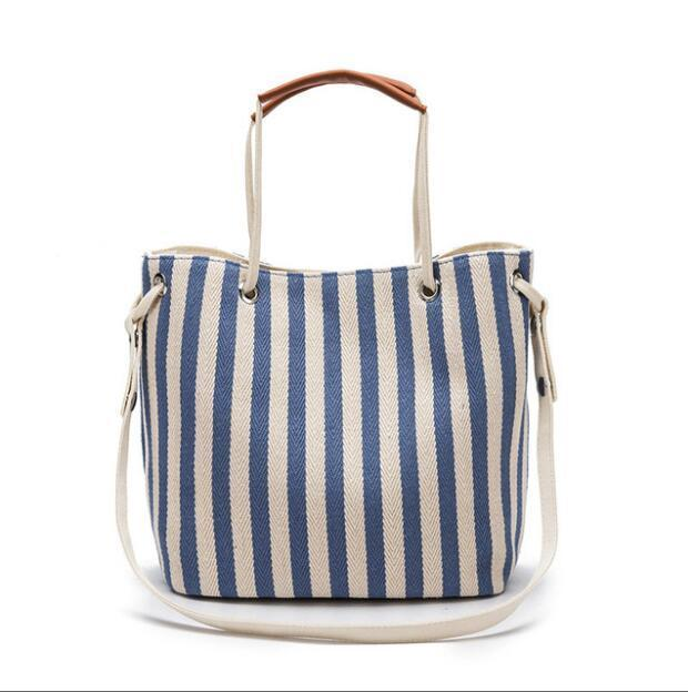 Sweet & Salty Canvas Handbag (3 Colours) - Black Canvas Everyday Bags Navy Blue Pale Blue - Accessories