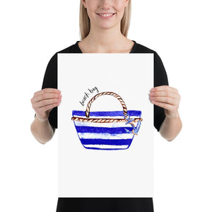The Beach Bag (Nautical Fashion Series) - Blue Striped Collection Stripes - Home Decor
