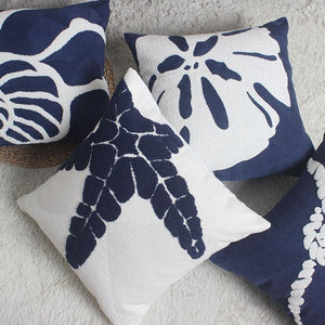The Beach Embroidered Pillow Collection - Navy Blue Pillow Cover Collections Rope Knots Seahorse Starfish - Home Decor