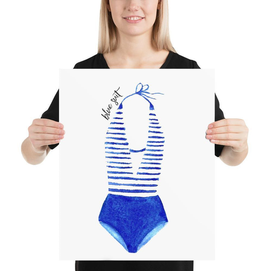The Blue Swimsuit Print (Nautical Fashion Series) - Best Stripes Blue Striped Collection Stripes Swimsuit
