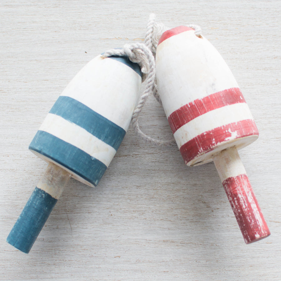 The Cranky Fishermans Buoys (Set of Two) - Best Stripes Blue Buoy Buoys Red - Home Decor