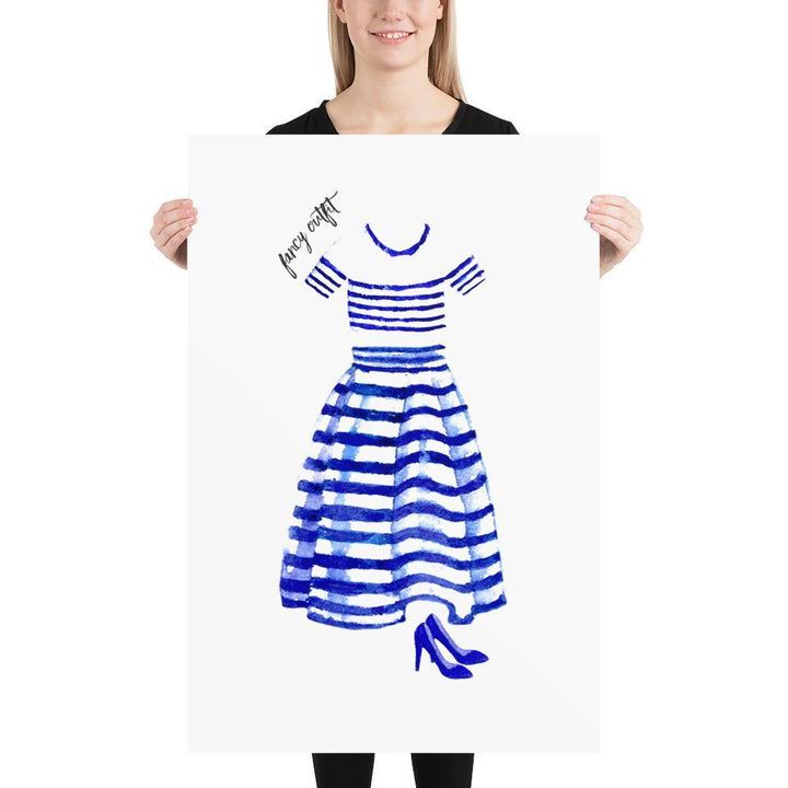 The Fancy Outfit (Nautical Fashion Series) - Blue Striped Collection Stripes - Home Decor