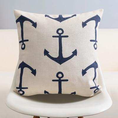 The Nautical Navy Pillow Collection - Anchor Collection Anchors Els PW 9383 Navy Blue Pillow Cover Collections - Home & Garden