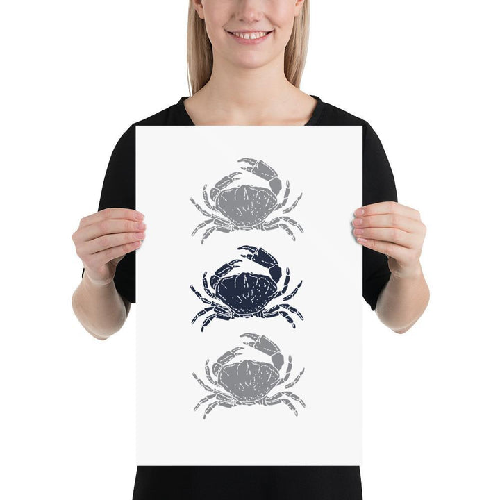 Three Crabs (Nautical Life Series) - Crab Navy - Home Decor