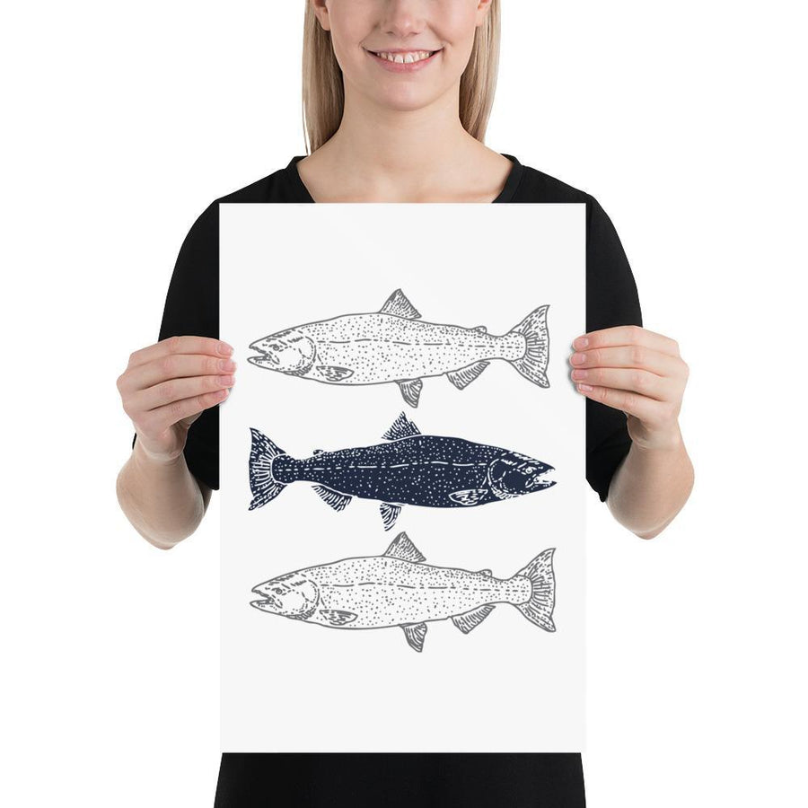 Three Fish (Nautical Life Series) - Fish Fish & Whale Collection Navy - Home Decor
