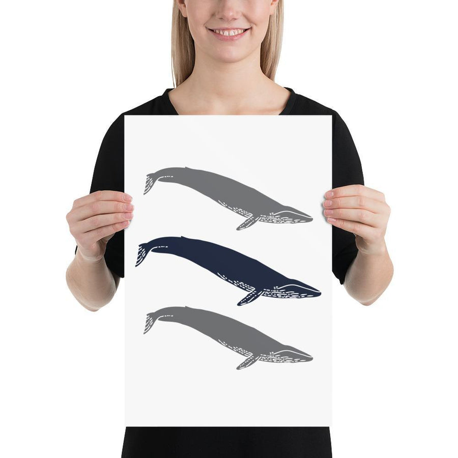 Three Whales (Nautical Life Series) - Fish and Whale Collection Navy Whale - Home Decor