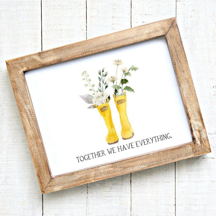 Together We Have Everything - Watercolour Wellies - Printable Art - Downloadable Free