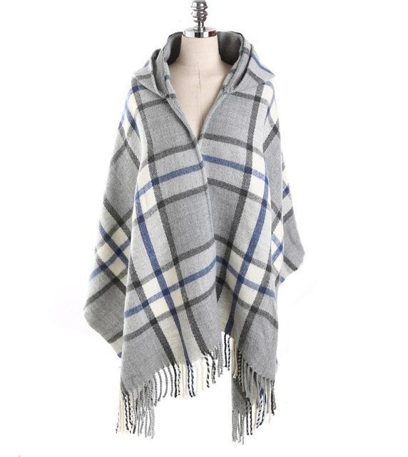 Under the Stars Hooded Blanket Shawl - Fall Plaid Scarves - Accessories