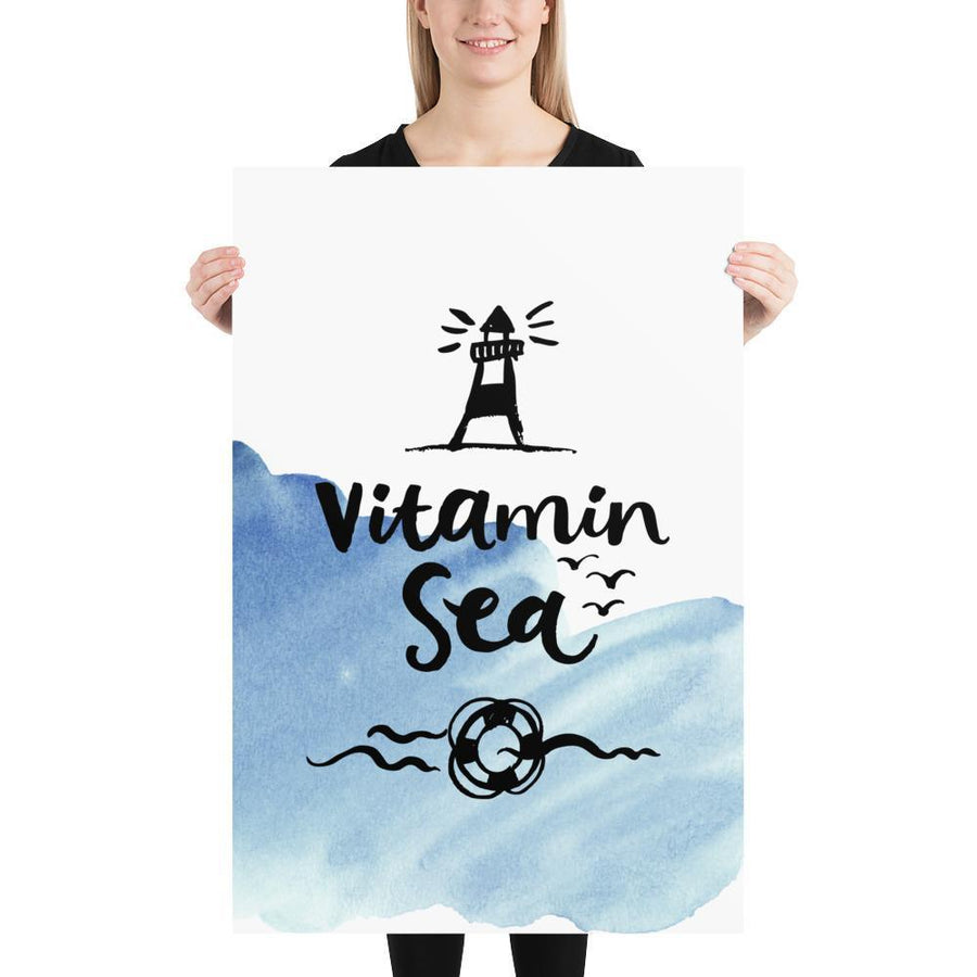 Vitamin Sea Watercolour (Nautical Watercolour Quotes Series) - Blue Life Ring Lighhouse Nautical Watercolour Quotes Series Ocean - Home