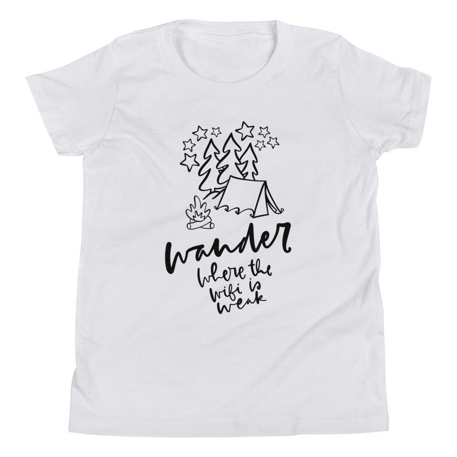 Wander/Wifi is Weak Youth Short Sleeve (2 Colours) - Campfire Camping Short Sleeves Wifi Youth Shirt - Fashion Accessories