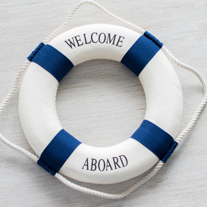 Welcome Aboard Life Buoy Wall Hanging - Buoy Buoys Life Ring Navy Red - Home Decor
