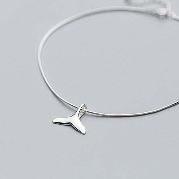 Whale Tail Silver Anklet - Accessories Bracelets Coastal Lifestyle Fish and Whale Collection Jewellery - Accessories