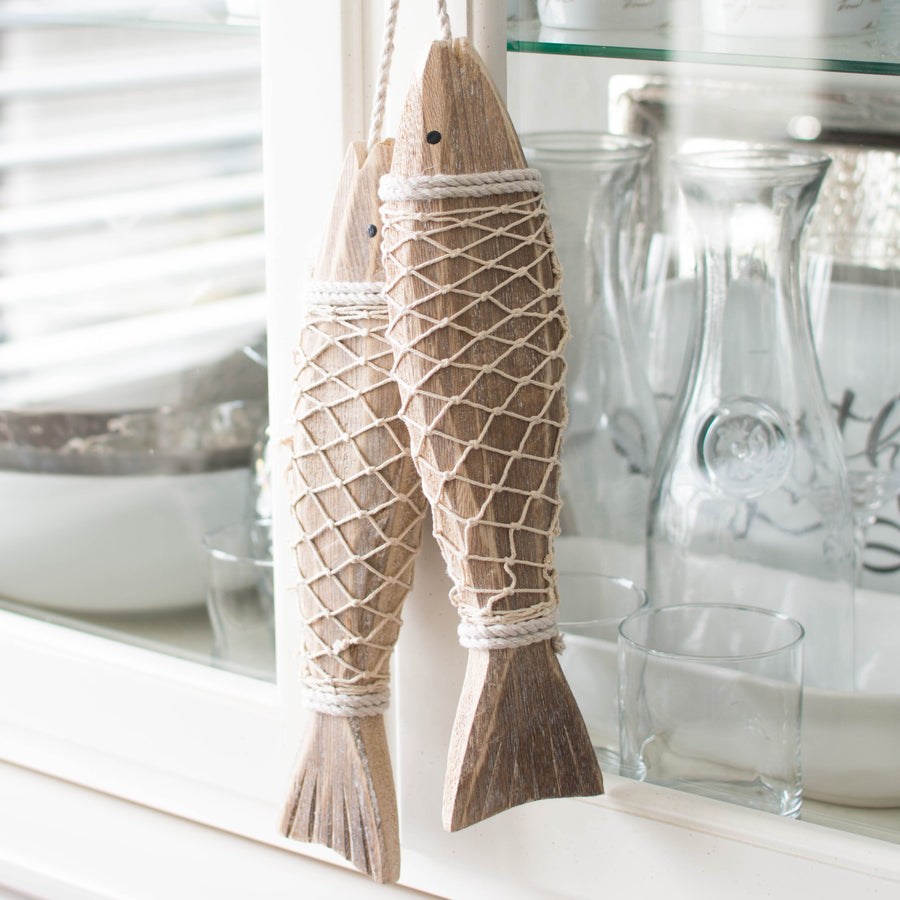 Whitewashed Hanging Wooden Fish (Set of Two) - Els PW 9383 Fish Fish & Whale Collection Rope Wood - Home Decor