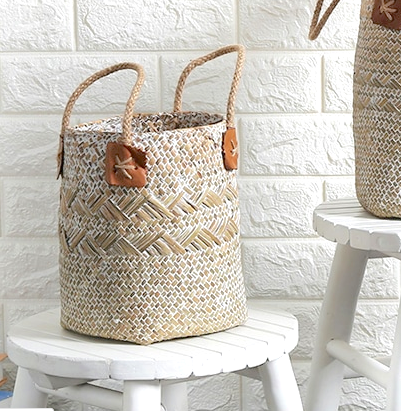 Whitewashed Straw Basket (Two Sizes) - Basket Blue Els PW 9383 Fall Seagrass - Home Decor