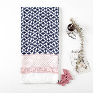 You Make Me Blush Scarf - Geometric Navy Blue Pink Scarves