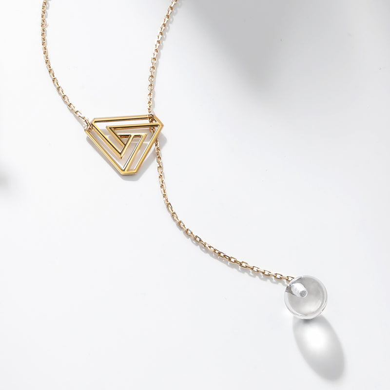 The Penrose Triangle White Quartz Necklace
