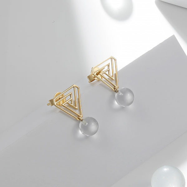 The Penrose Triangle White Quartz Earrings