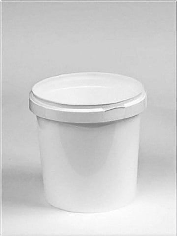 1 Litre White Plastic Pail Complete With White Lid