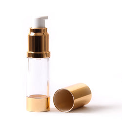 Clear & Gold Chrome 15ml With Cap - Airless Serum Bottles