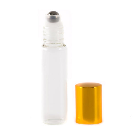 Roll On Clear Bottle with Shiny Gold Cap 15ml