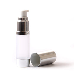 Frosted & Silver Chrome 15ml With Cap - Airless Serum Bottles