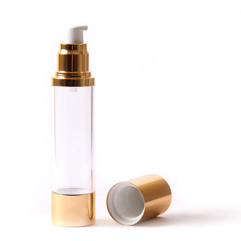 Clear & Gold Chrome 50ml With Cap - Airless Serum Bottles